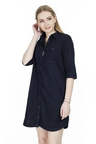 Mavi Cepli Kot Kadın Elbise 130420-24353 LACİVERT