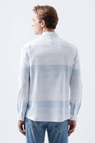 Mavi Çizgili % 100 Pamuklu Erkek Gömlek 021538-31341 AÇIK MAVİ