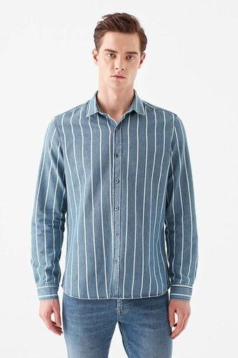 Mavi Çizgili Düz Yaka % 100 Pamuk Erkek Gömlek 021497-18790 İNDİGO