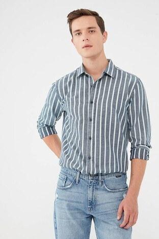 Mavi - Mavi Çizgili Slim Fit Pamuklu Erkek Gömlek 021905-10241 MAVİ