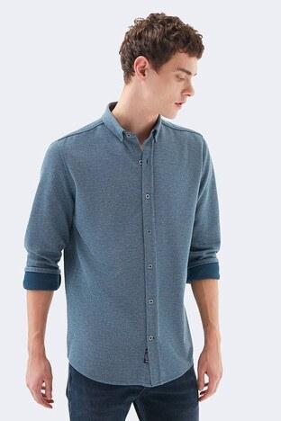 Mavi - Mavi Dar Kesim Düğmeli Yaka Örme Erkek Gömlek 20716-32453 İNDİGO