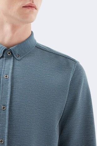 Mavi Dar Kesim Düğmeli Yaka Örme Erkek Gömlek 20716-32453 İNDİGO