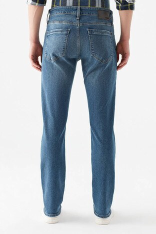 Mavi Düz Kesim Düz Paça Pamuklu Marcus Jeans Erkek Kot Pantolon 0035131927 MAVİ