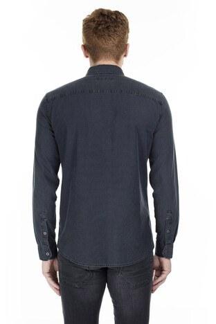 Mavi Düz Yaka Erkek Gömlek 021460-18790 KOYU GRİ