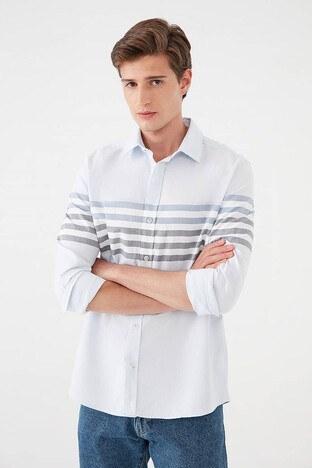 Mavi - Mavi Slim Fit Çizgili % 100 Pamuk Erkek Gömlek 021893-35103 AÇIK MAVİ
