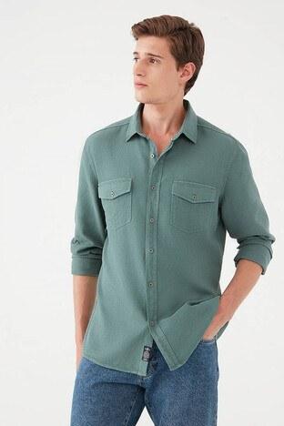 Mavi - Mavi Slim Fit Cepli % 100 Pamuk Erkek Gömlek 021954-35139 KOYU YEŞİL