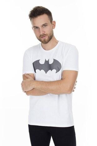 Mavi - Mavi Batman Baskılı Erkek T Shirt 065221620 BEYAZ