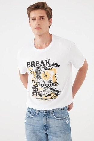 Mavi - Mavi Rahat Kesim Baskılı Bisiklet Yaka % 100 Pamuk Erkek T Shirt 066714-620 BEYAZ