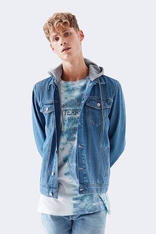 Mavi - Mavi % 100 Pamuk Kapüşonlu Rahat Kesim Erkek Kot Ceket 0167932232 MAVİ