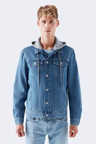 Mavi % 100 Pamuk Kapüşonlu Rahat Kesim Erkek Kot Ceket 0167932232 MAVİ