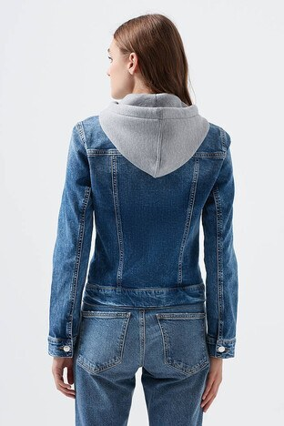 Mavi Kapüşonlu Cepli Pamuklu Bayan Kot Ceket 110196-32066 MAVİ