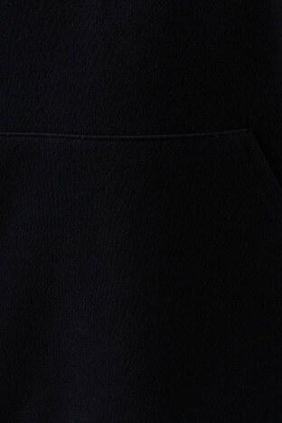 Mavi Kapüşonlu Kanguru Cepli Oversize Bayan Sweat 168327-900 SİYAH
