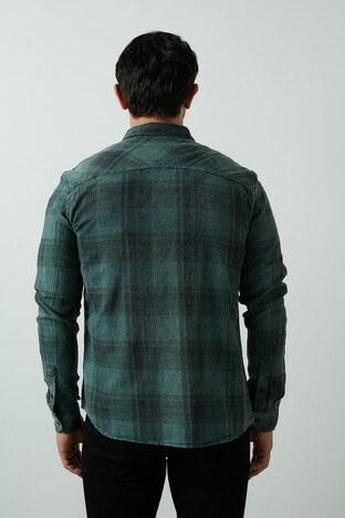 Mavi Kareli Düz Yaka % 100 Pamuk Erkek Gömlek 021603-31966 KOYU YEŞİL