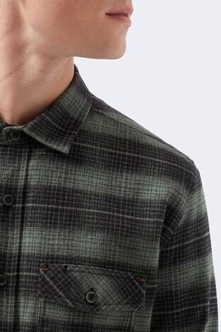 Mavi Kareli Düz Yaka % 100 Pamuk Erkek Gömlek 021725-31488 YEŞİL