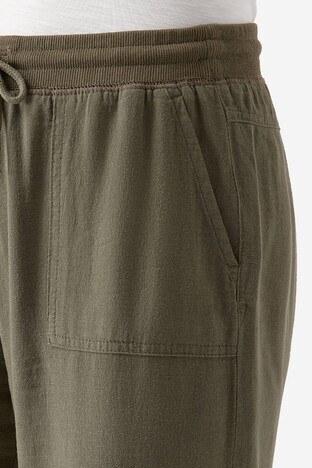 Mavi Keten Karışımlı Kadın Pantolon 100782-28460 YEŞİL