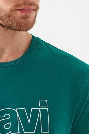 Mavi Logo Baskılı Bisiklet Yaka % 100 Pamuk Erkek T Shirt 065781-31966 KOYU YEŞİL