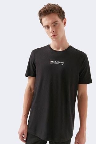 Mavi Logo Baskılı Pamuklu Bisiklet Yaka Erkek T Shirt 066649-900 SİYAH