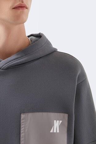 Mavi Logo Baskılı Pamuklu Oversize Kapüşonlu Erkek Sweat 066647-32167 GRİ