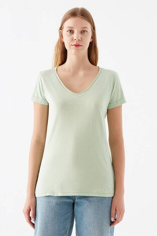 Mavi Normal Kesim V Yaka Bayan T Shirt 166446-33526 AÇIK YEŞİL