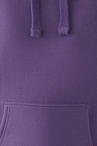 Mavi Oversize Kapüşonlu Kanguru Cepli Bayan Sweat 167299-33536 MOR