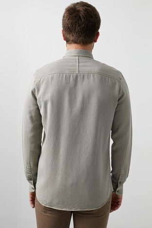 Mavi Pamuklu Çift Cepli Erkek Gömlek 021599-31633 AÇIK YEŞİL