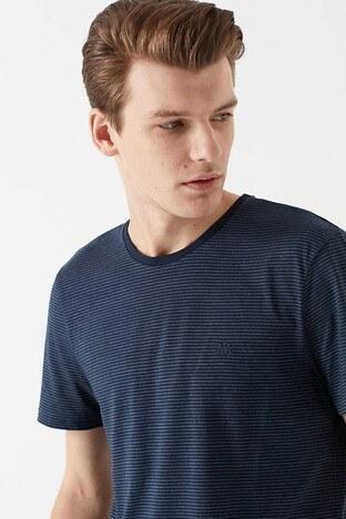 Mavi - Mavi Pamuklu Çizgili Bisiklet Yaka Basic Erkek T Shirt 065372-28417 LACİVERT
