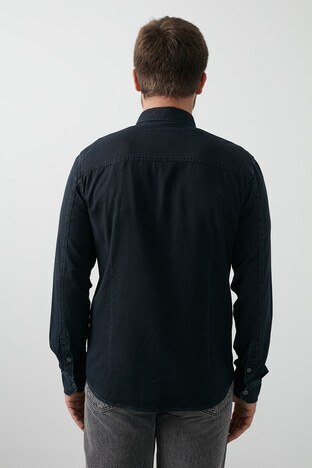 Mavi Pamuklu Dar Kesim Çift Cepli Erkek Gömlek 021655-32176 MAVİ