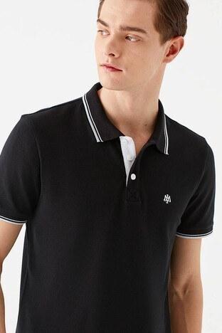 Mavi - Mavi Pamuklu Dar Kesim Düğmeli T Shirt Erkek Polo 064164-900 SİYAH