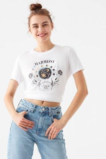 Mavi Rahat Kesim Baskılı Bisiklet Yaka % 100 Pamuk Bayan T Shirt 1600537-620 BEYAZ