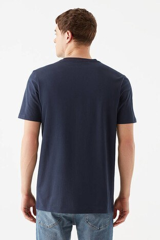 Mavi Rahat Kesim Baskılı Bisiklet Yaka % 100 Pamuk Erkek T Shirt 066844-33207 GECE LACİVERT