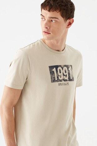 Mavi Rahat Kesim Baskılı Bisiklet Yaka % 100 Pamuk Erkek T Shirt 066844-33405 Soluk Bej