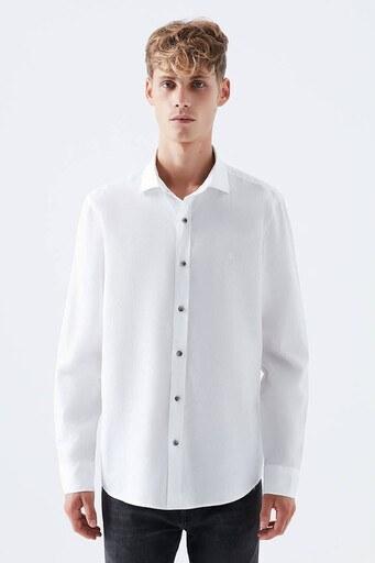 Mavi Slim Fit % 100 Pamuklu Erkek Gömlek 021649-620 BEYAZ