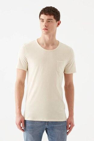 Mavi - Mavi Slim Fit Bisiklet Yaka % 100 Pamuk Erkek T Shirt 062772-33517 BEJ