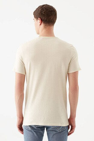 Mavi Slim Fit Bisiklet Yaka % 100 Pamuk Erkek T Shirt 062772-33517 BEJ