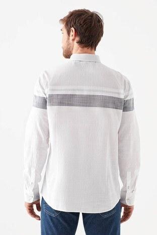 Mavi Slim Fit Çizgili % 100 Pamuk Erkek Gömlek 021639-620 BEYAZ