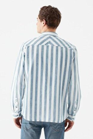 Mavi Slim Fit Çizgili % 100 Pamuk Erkek Gömlek 021802-33101 AÇIK MAVİ