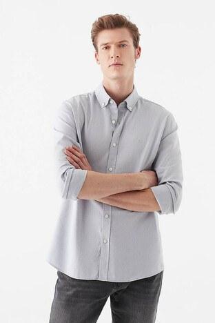 Mavi - Mavi Slim Fit Düğmeli Yaka % 100 Pamuk Erkek Gömlek 020033-32352 AÇIK GRİ