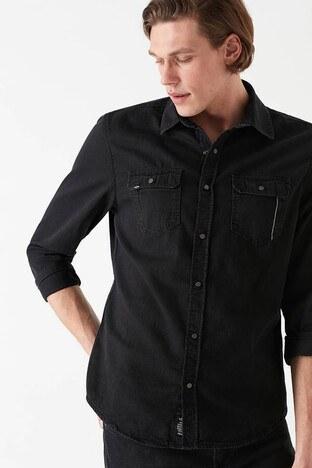 Mavi Slim Fit Erkek Kot Gömlek 02957-27005 SİYAH