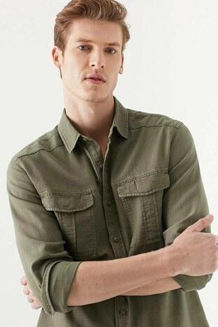 Mavi Slim Fit Uzun Kol Keten Erkek Gömlek 021871-33948 AÇIK HAKİ