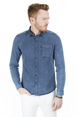 Mavi Tek Cepli Çizgili Erkek Gömlek 021420-18790 İNDİGO