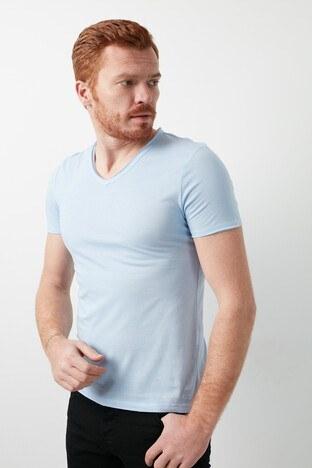 Mavi V Yaka % 100 Pamuk Erkek T Shirt 062773-33516 AÇIK MAVİ