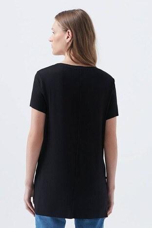 Mavi V Yaka Bayan T Shirt 166775-900 SİYAH