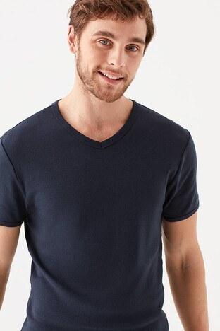 Mavi - Mavi Slim Fit V Yaka % 100 Pamuk Basic Erkek T Shirt 063748-17588 KOYU LACIVERT