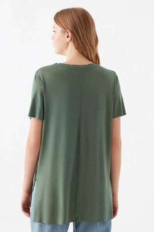 Mavi V Yaka Yırtmaç Detaylı Bayan T Shirt 166775-33484 YEŞİL