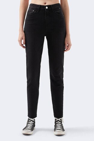 Mavi Yüksek Bel Mom Jeans Dar Paça Star Jeans Bayan Kot Pantolon 101077-33944 SİYAH