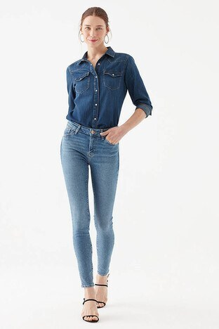 Mavi Yüksek Bel Skinny Pamuklu Tess Jeans Bayan Kot Pantolon 100328-33693 MAVİ