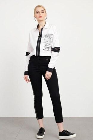 Modailgi - Modailgi Taşlı Dar Paça Jeans Bayan Kot Pantolon 1974035 SİYAH
