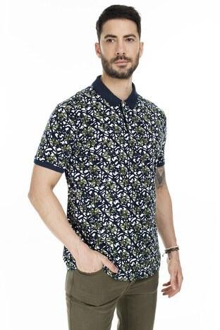 Navigli T Shirt Erkek Polo 5273DSN13 Lacivert-Beyaz-Yeşil