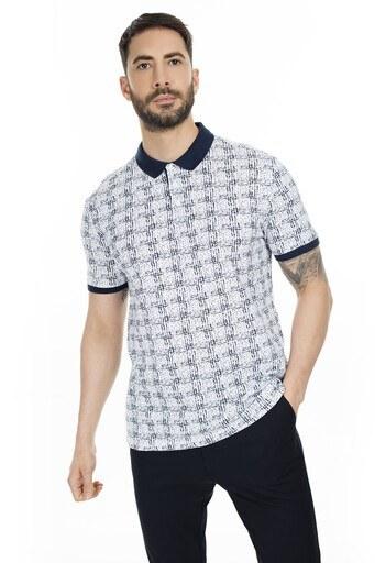 Navigli Yaka T Shirt Erkek Polo 5273DSN15 BEYAZ-LACİVERT