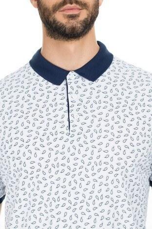 Navigli Yaka T Shirt Erkek Polo 5273DSN2 BEYAZ-LACİVERT